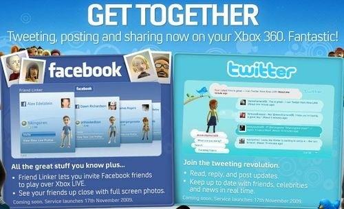 Facebook, Twitter Launch Nov. 17 on UK Xbox Live