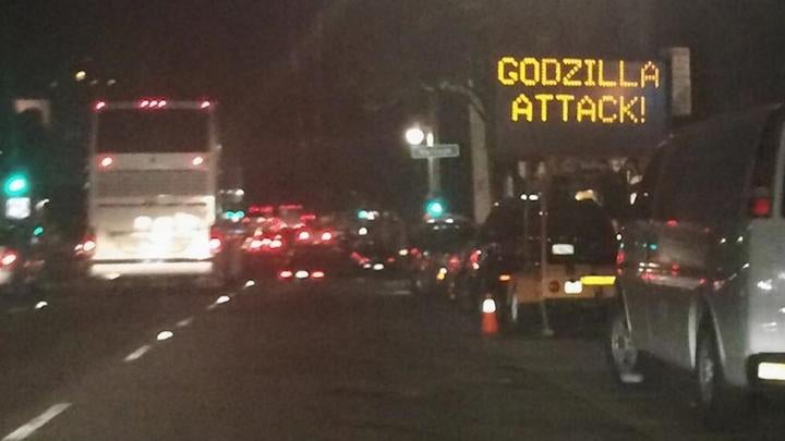"""GODZILLA ATTACK!"" Reads Hacked San Francisco Road Sign"