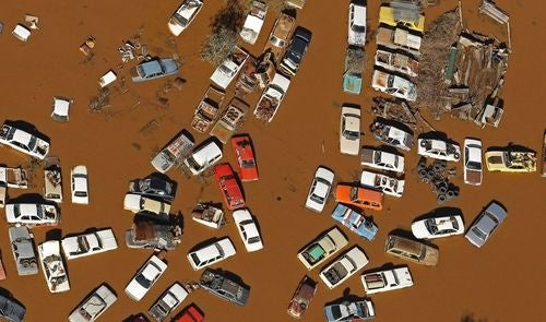 Massive Flood + Junkyard = Floating Junkyard