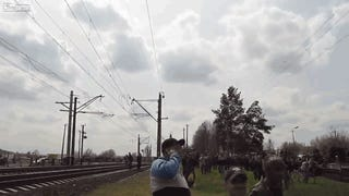 Ukrainian Jet Fighter Trying To Scare Civilians