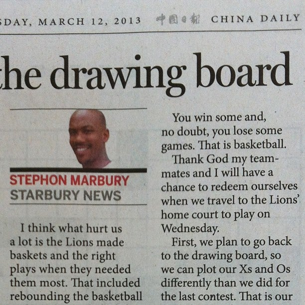 Stephon Marbury Blogs About Basketball in China Now