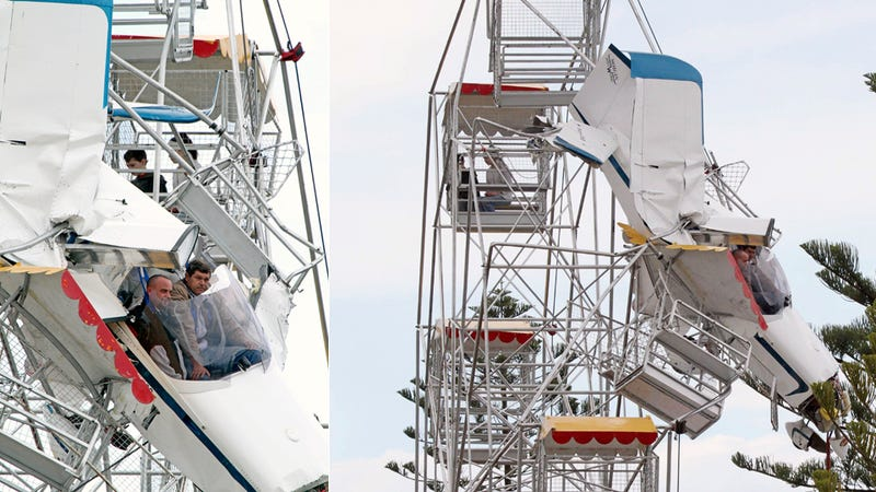 Ultralight Plane Crashes Into, Gets Stuck Inside, Ferris Wheel