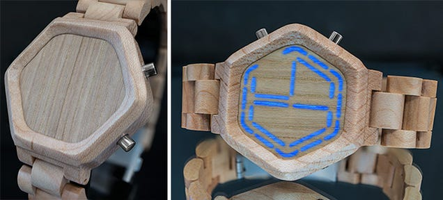 Hidden LEDs Give This Wood-Faced Watch a Digital Display