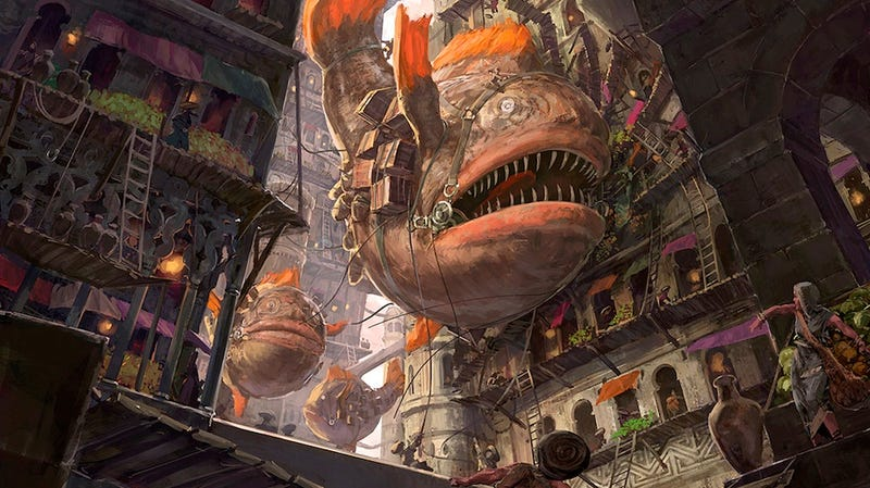 Concept Art Writing Prompt: Flight of the Fish Airships