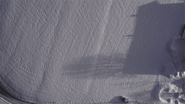 A Drone's Eye View Of A Snow Drifting Evo Will Blow You Away