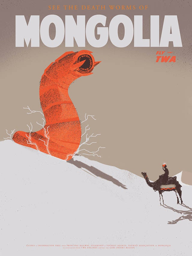 Vintage travel posters show off the world's most thrilling monsters
