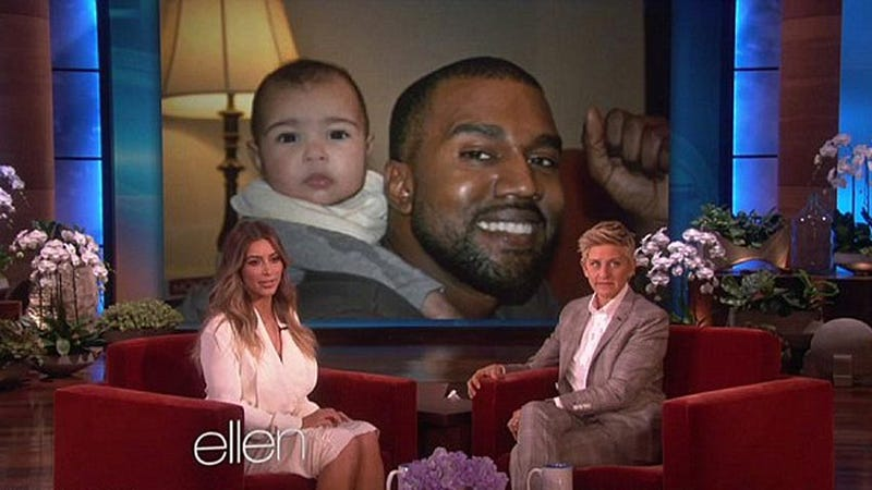 Kim Kardashian Shows Ellen Pics of Kanye Giving Nori a Piggyback Ride