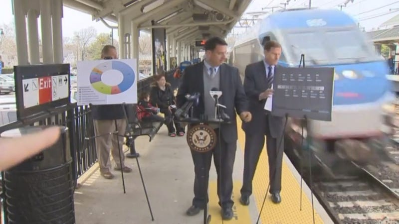 Senator Holds Commuter Safety Presser, Almost Gets Hit By Train