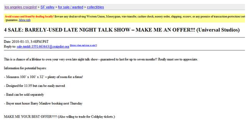 Did NBC Remove Conan's Tonight Show Craigslist Ad? UPDATE