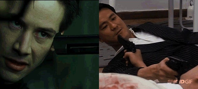 It's shocking to see how many movie scenes were copied in The Matrix