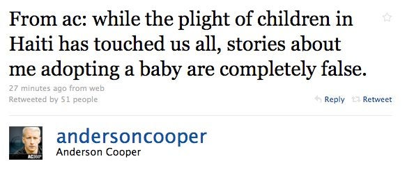 Anderson Cooper Not Adopting Haitian Baby, Still Gay