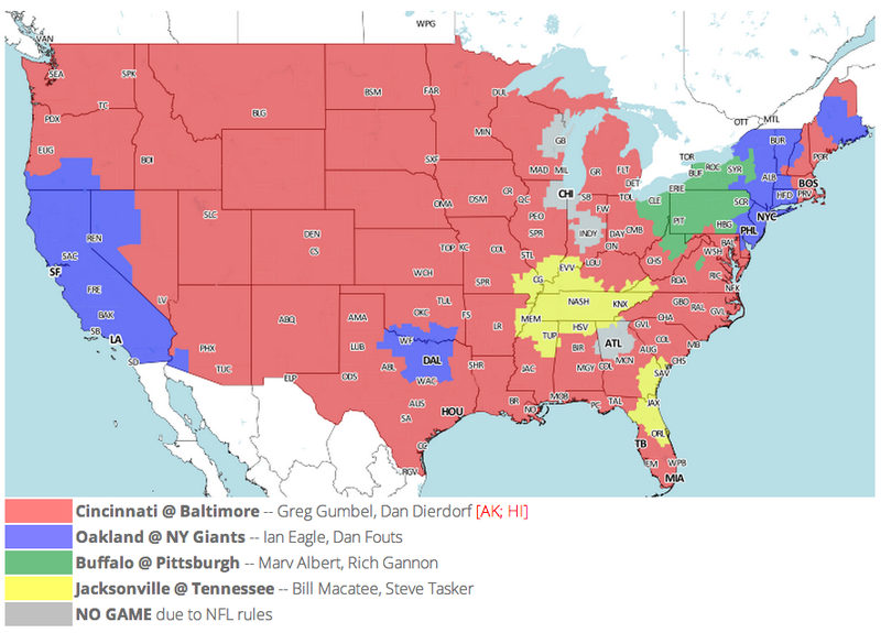 Which TV Market's Getting Screwed Today? Your Week 10 NFL Viewing Maps