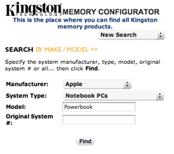 Kingston Memory Configurator - Find Your RAM Upgrade Type By Your Machine's Make and Model