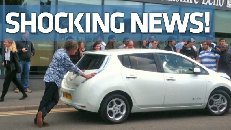Top Gear caught pushing a dead Nissan Leaf