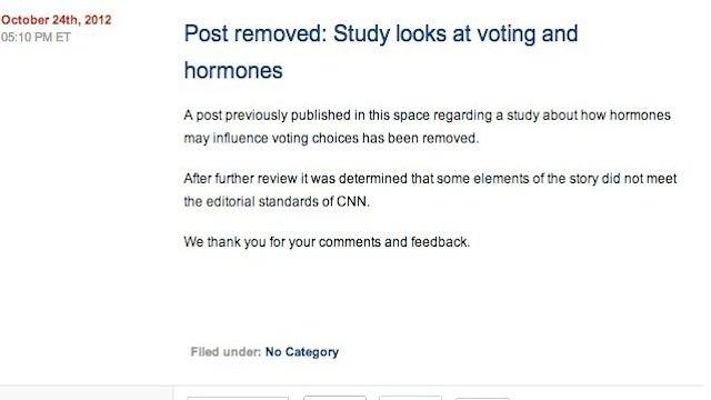 "CNN Removes ""Do hormones drive women's votes?"" Post"