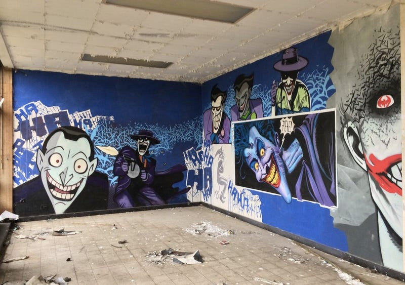 Fabulous Batman graffiti found in an abandoned building
