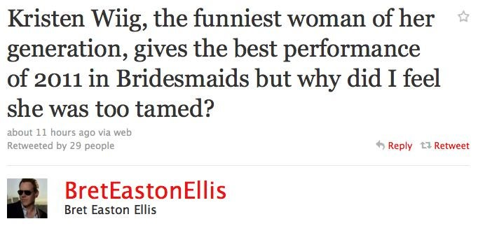 Bret Easton Ellis Posts His Critique Of Bridesmaids
