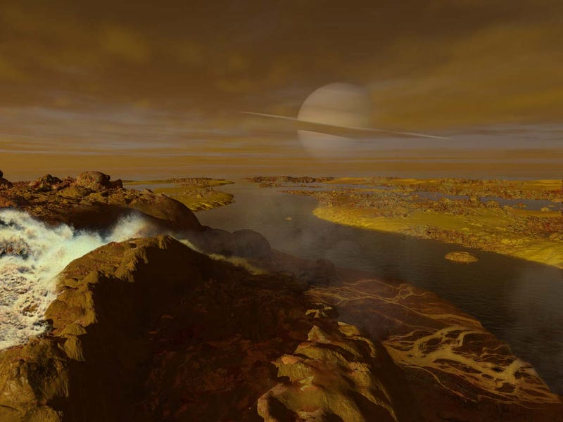 Gorgeous illustrations of what it would look like to stroll along Titan's methane rivers