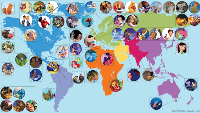 Here's a map that shows the location of every Disney and Pixar movie