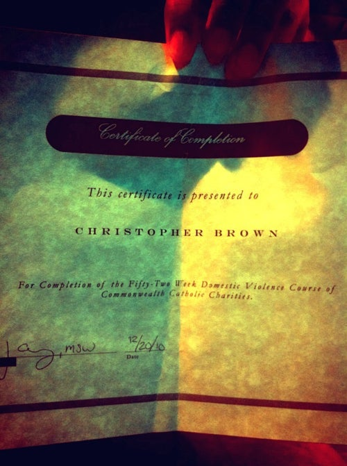 Chris Brown Shows Off His Domestic Violence Class Completion Certificate