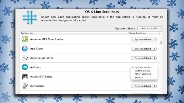 LionScrollBars for Mac Controls Scroll Bar Behavior by App