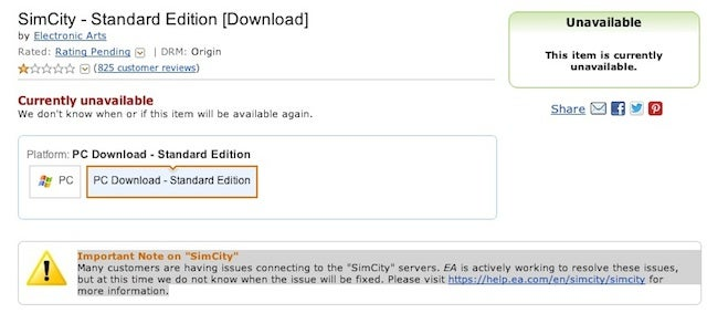 Amazon Has Stopped Selling Digital Copies Of SimCity