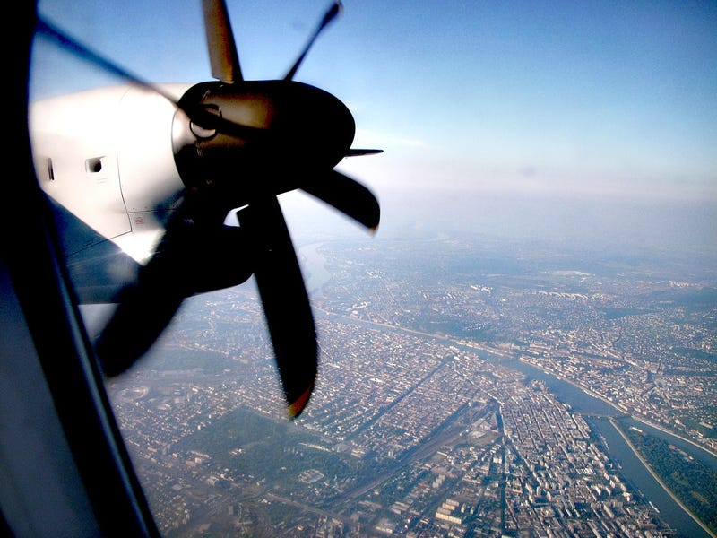 Fly the retro skies over Budapest in a turboprop with 1960s livery