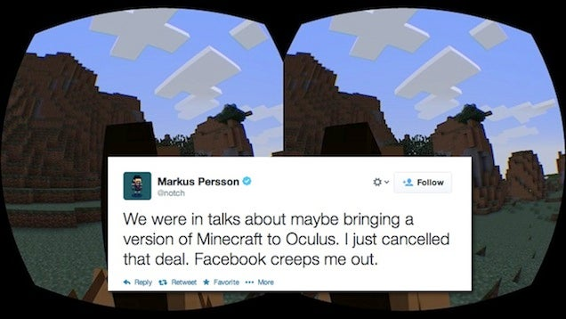 ​Notch Says He's Canceled Oculus Rift Minecraft Because Of Facebook