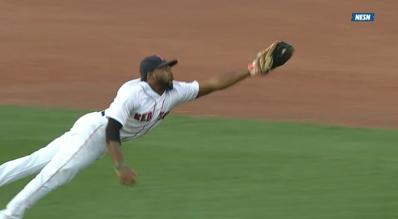 Red Sox Outfielder Jackie Bradley, Jr. Lays Out For A Magnificent Catch