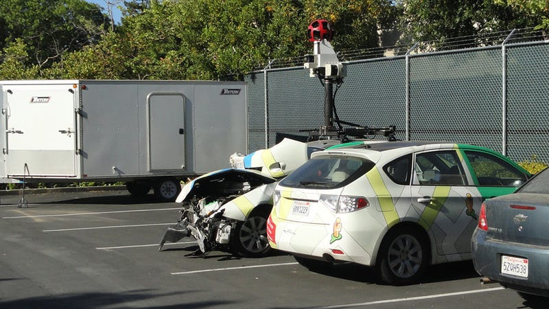 Was This Google Maps Car Driver Using Google Glasses When He Crashed?