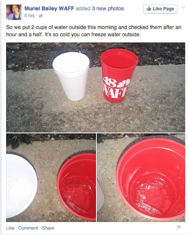 Facebook post from WAFF discussing how water freezes when it's cold.