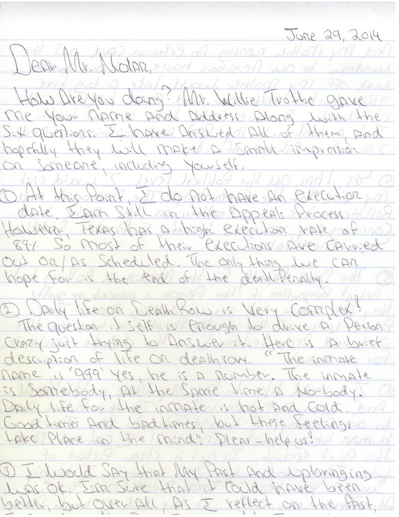 Letters From Death Row: Pete Russell, Texas Inmate 999443