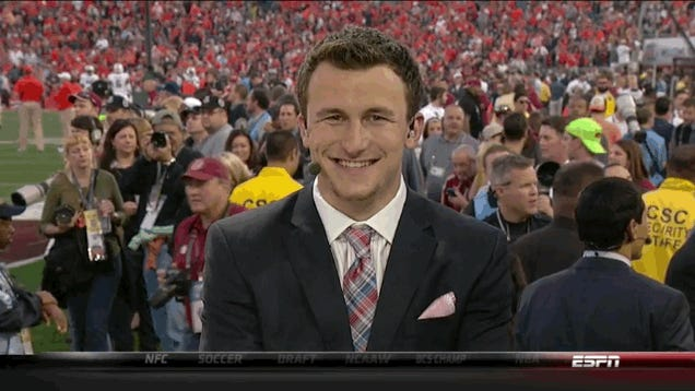 Nick Saban And Johnny Manziel Hanging Out On College GameDay