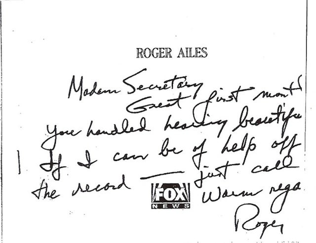 "Roger Ailes Offered Bush Administration ""Off the Record Help"" in Private Note"