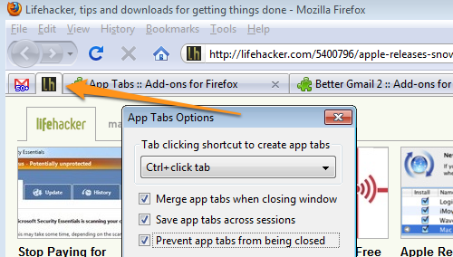 App Tabs Creates Permanent, Icon-Only Tabs, Firefox 4.0-Style