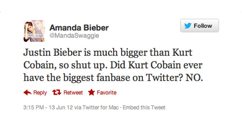 Justin Bieber Superfan Burns Kurt Cobain By Saying He Wasn't Huge on Twitter. Except, Wait...