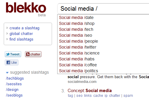Blekko De-Spams Search Results with Slashtags