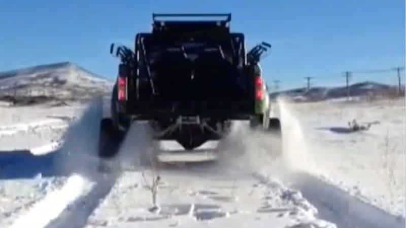 Watch Ken Block Declare War On Snow In His Ford RaptorTRAX
