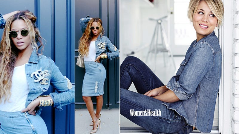 Beyoncé and Kaley Cuoco Fall Victim to the Denim-on-Denim Trend