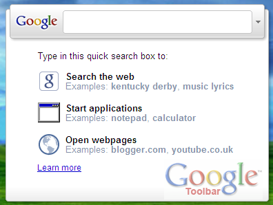 Install Google Toolbar 6, Get Quick Search Box