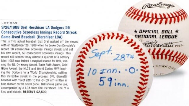 Orel Hershiser Changes His Mind About Auctioning Baseball From Scoreless Innings Streak