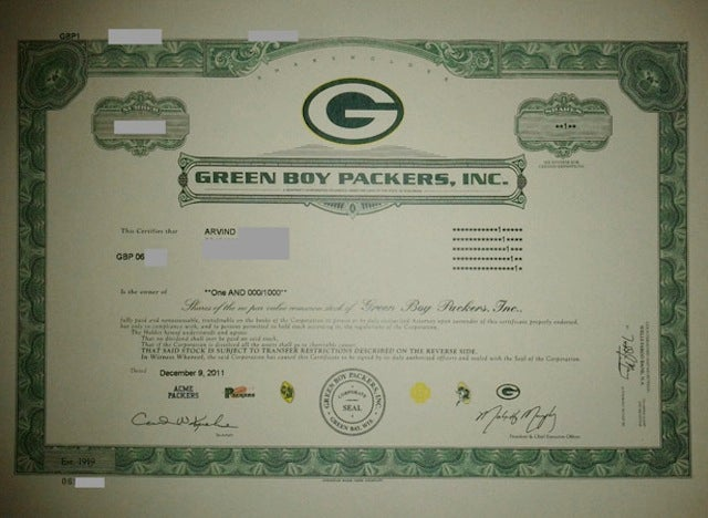 "At Least One New Packers Shareholder Received An Official Certificate From The ""Green Boy Packers, Inc."""