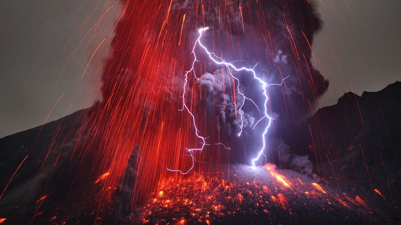Mt. Sakurajima Unleashes Its Fury with Lava and Lightning