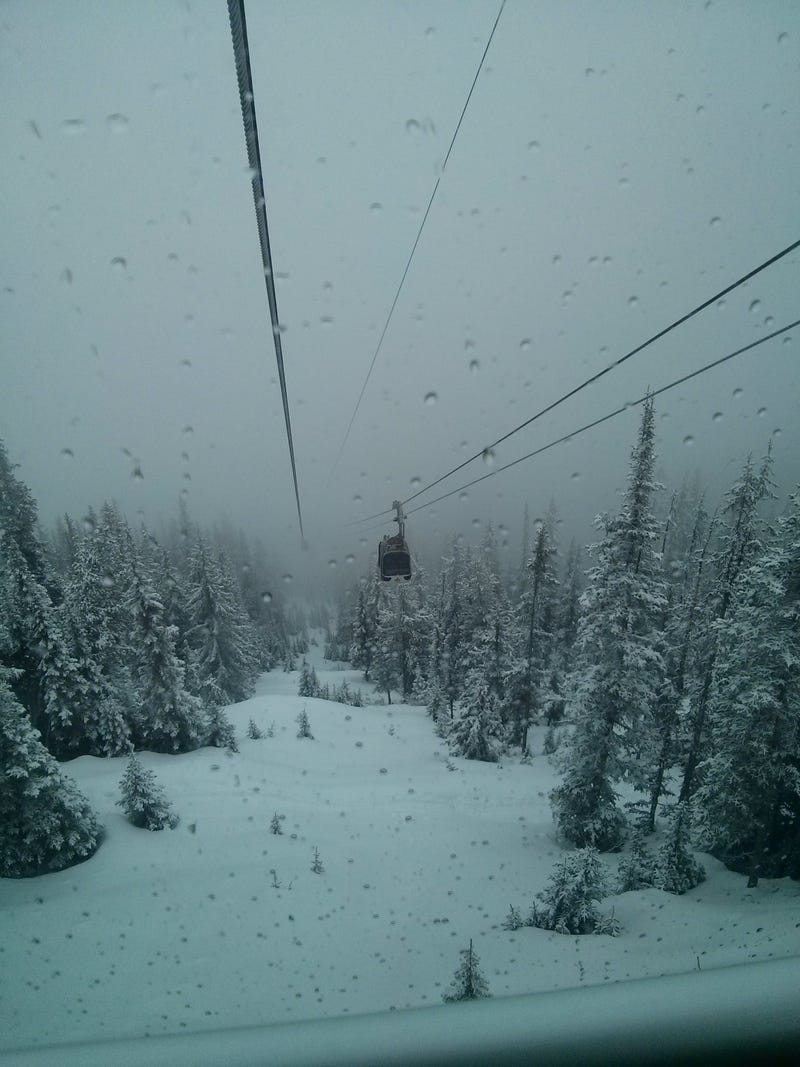 Updating Oppo from the top of the Banff Gondola!