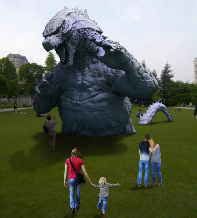 Godzilla Invades a Tokyo Park