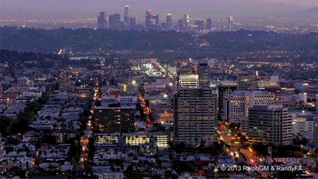 Watch Los Angeles come to life at night in this timelapse