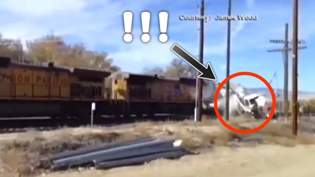 This Truck's Passengers Walked Away After Being Hit By A Speeding Train