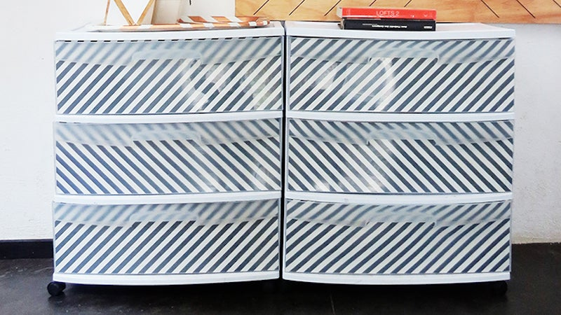 Personalize Cheap Plastic Storage with Patterned Paper Inserts