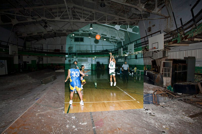 Composite photos show a Detroit school before and after it was abandoned