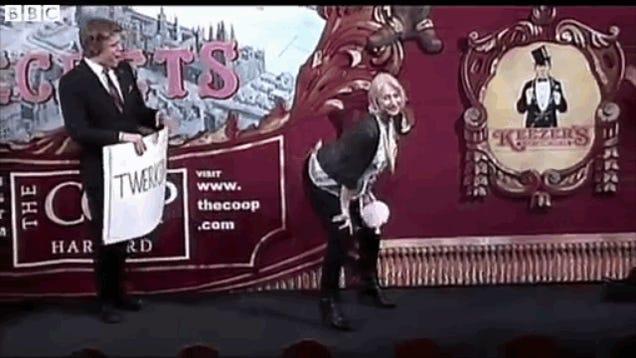 Here's a GIF of Dame Helen Mirren Twerking